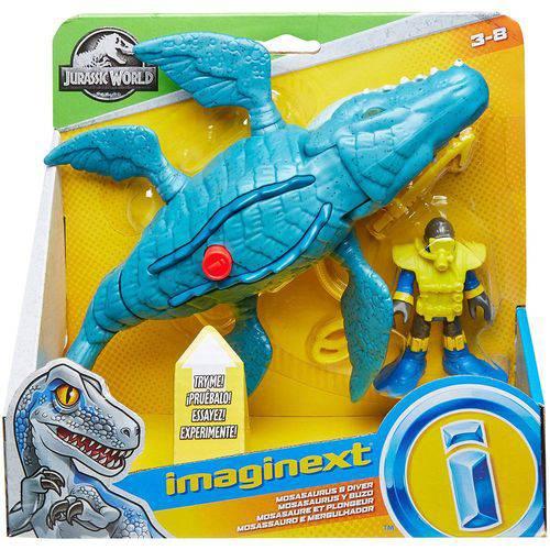 Imaginext - Mosassauro e Mergulhador - Mattel FMX88/FMX91