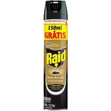 Inseticida Aerosol Mata Baratas e Formigas Embalagem Econômica Raid 450ml