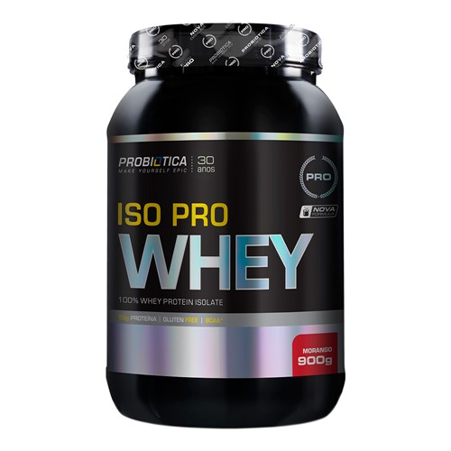 Iso Pro Whey Probiótica Morango 900g