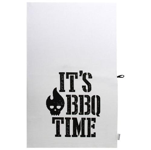 It´s Bbq Time Pano de Prato Branco/preto