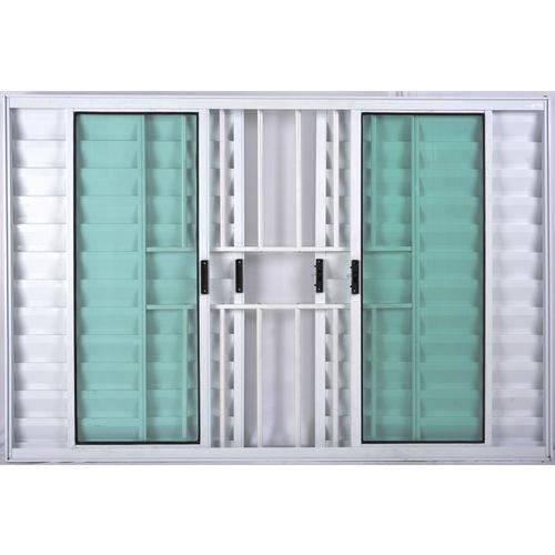 Janela Veneziana de Alumínio 6 Folhas com Grade Branco 1,00 X 1,20 Linha All Soft