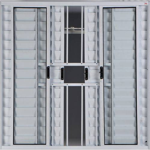 Janela Veneziana de Alumínio 6 Folhas com Grade Branco 1,00 X 1,00 Linha All Modular