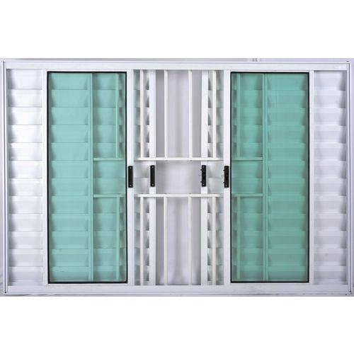 Janela Veneziana de Alumínio 6 Folhas com Grade Branco 1,00 X 1,00 Linha All Soft