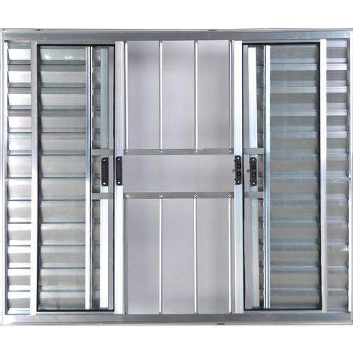 Janela Veneziana de Alumínio 6 Folhas com Grade Brilhante 1,20 X 2,00 Linha All Modular