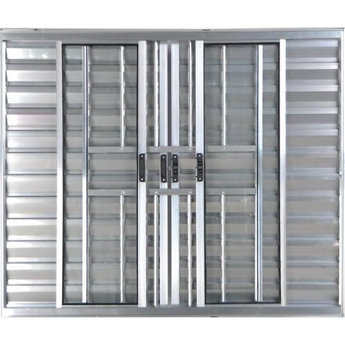 Janela Veneziana de Alumínio 6 Folhas com Grade Brilhante 1,00 X 2,00 Linha All Modular