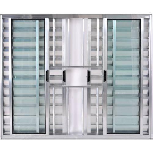 Janela Veneziana de Alumínio 6 Folhas com Grade Brilhante 1,00 X 1,00 Linha All Soft