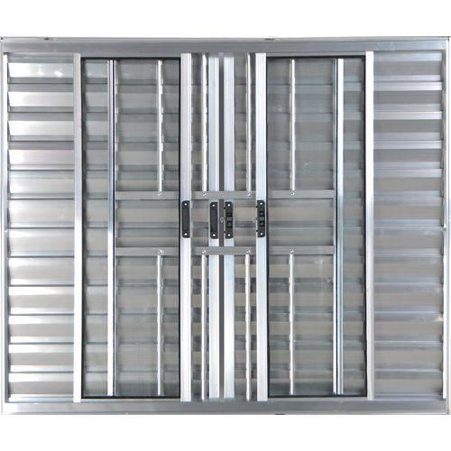 Janela Veneziana de Alumínio 6 Folhas com Grade Brilhante 1,00 X 1,20 Linha All Modular