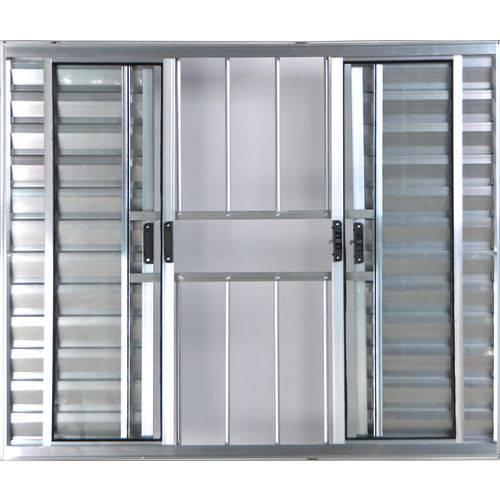 Janela Veneziana de Alumínio 6 Folhas com Grade Brilhante 1,00 X 1,80 Linha All Modular