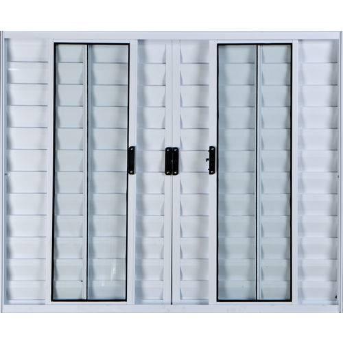 Janela Veneziana de Alumínio 6 Folhas Sem Grade Branco 1,00 X 1,00 Linha All Modular