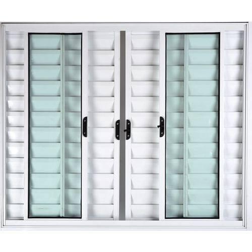 Janela Veneziana de Alumínio 6 Folhas Sem Grade Branco 1,00 X 1,50 Linha All Soft