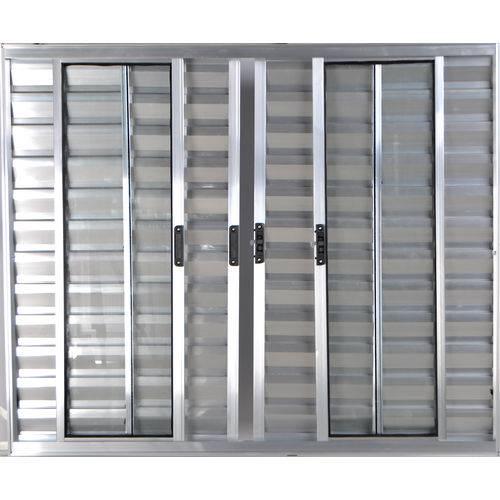 Janela Veneziana de Alumínio 6 Folhas Sem Grade Brilhante 1,20 X 2,00 Linha All Modular