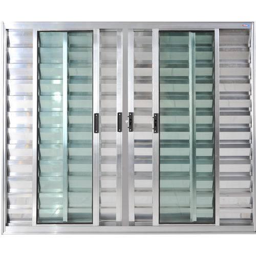 Janela Veneziana de Alumínio 6 Folhas Sem Grade Brilhante 1,20 X 2,00 Linha All Soft