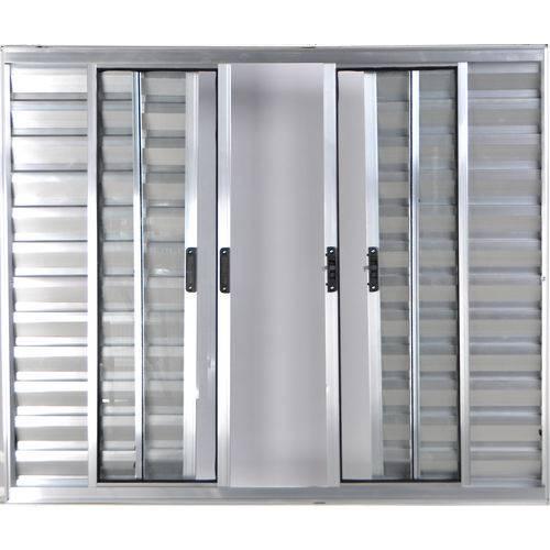 Janela Veneziana de Alumínio 6 Folhas Sem Grade Brilhante 1,20 X 1,20 Linha All Modular