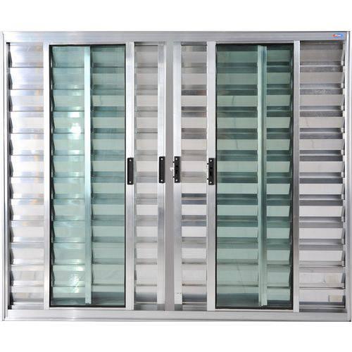 Janela Veneziana de Alumínio 6 Folhas Sem Grade Brilhante 1,20 X 1,20 Linha All Soft