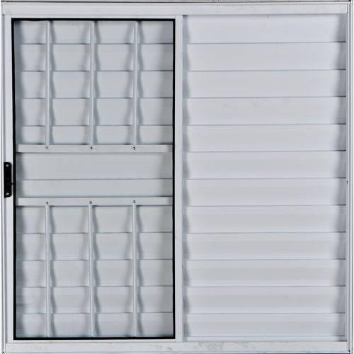 Janela Veneziana de Alumínio 3 Folhas com Grade Branco 1,00 X 1,20 Linha All Modular