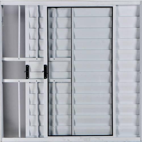 Janela Veneziana de Alumínio 3 Folhas com Grade Branco 1,00 X 1,00 Linha All Modular