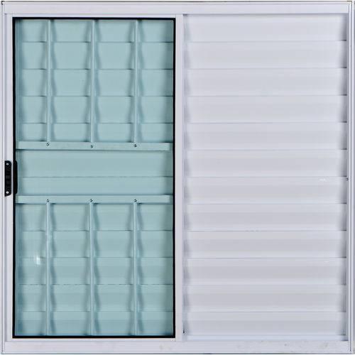 Janela Veneziana de Alumínio 3 Folhas com Grade Branco 1,00 X 1,20 Linha All Soft