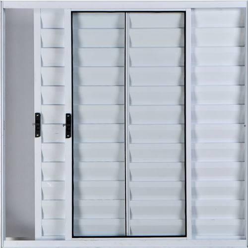 Janela Veneziana de Alumínio 3 Folhas Sem Grade Branco 1,00 X 1,00 Linha All Modular
