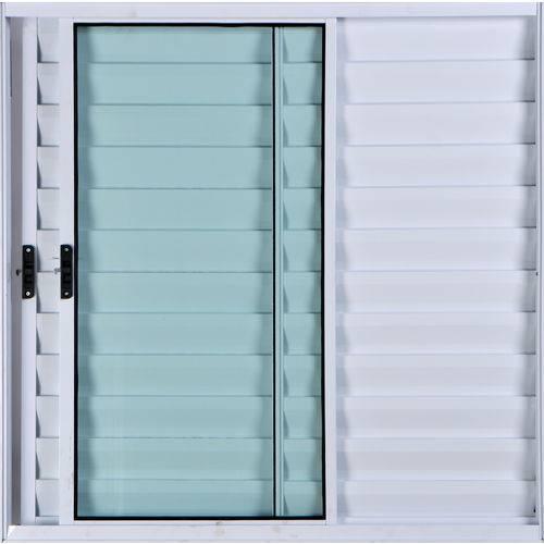 Janela Veneziana de Alumínio 3 Folhas Sem Grade Branco 1,00 X 1,00 Linha All Soft