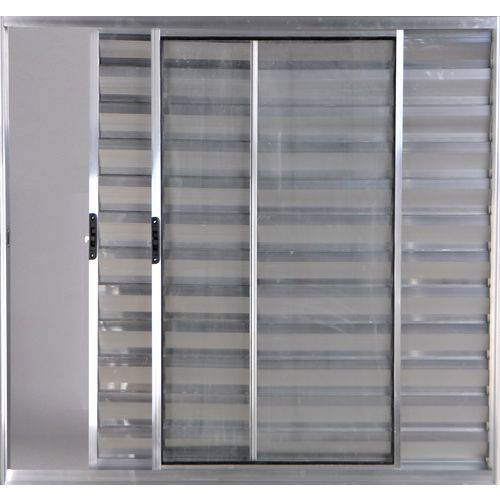 Janela Veneziana de Alumínio 3 Folhas Sem Grade Brilhante 1,00 X 1,00 Linha All Modular