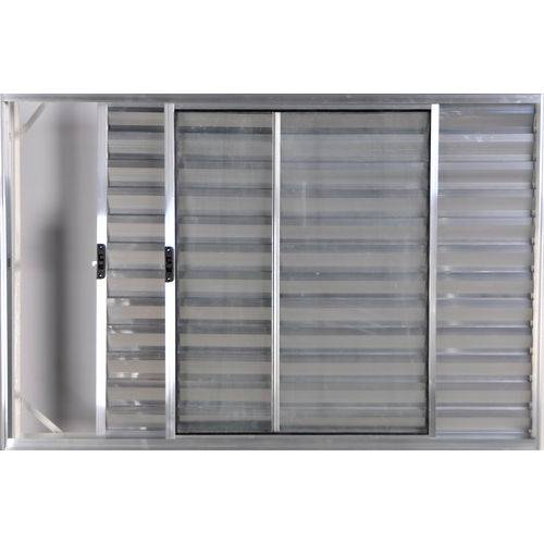 Janela Veneziana de Alumínio 3 Folhas Sem Grade Brilhante 1,00 X 1,50 Linha All Modular
