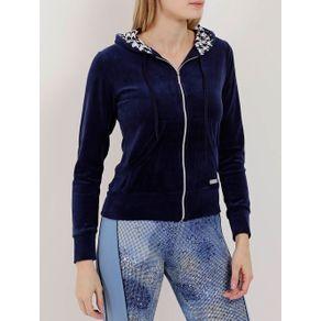 Jaqueta de Plush Feminina Azul Marinho M
