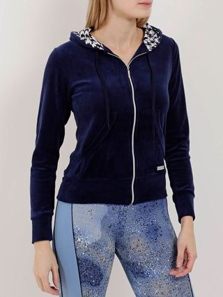 Jaqueta de Plush Feminina Azul Marinho