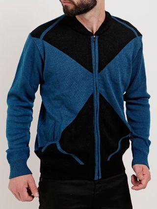Jaqueta de Tricot Masculina Azul/preto