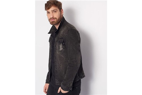 Jaqueta Jeans Black Lavado - Preto - G