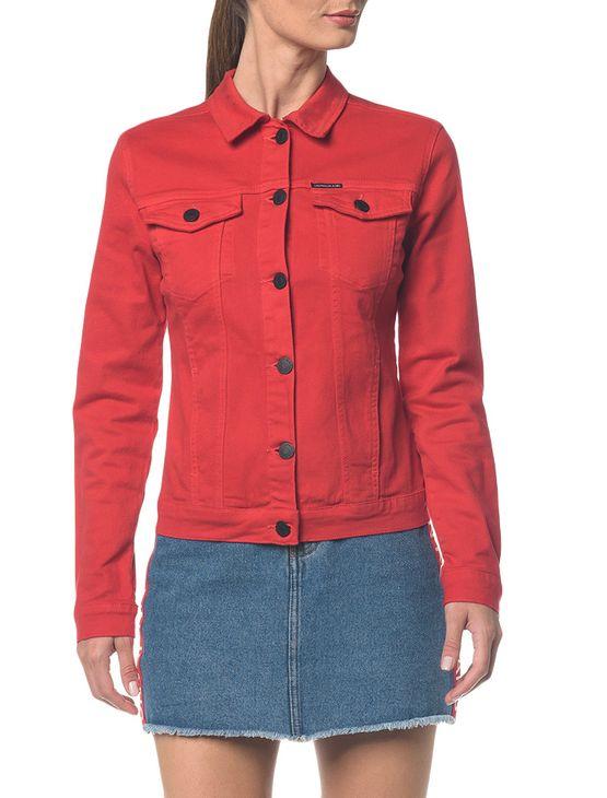 Jaqueta Jeans Color Trucker - Vermelho - P