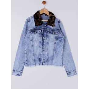 Jaqueta Jeans Juvenil para Menina - Azul 12