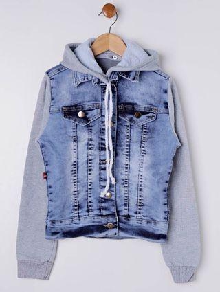 Jaqueta Jeans Juvenil para Menina - Azul