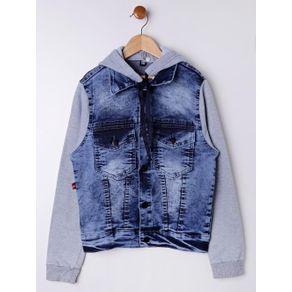 Jaqueta Jeans Juvenil para Menino - Azul/cinza 10