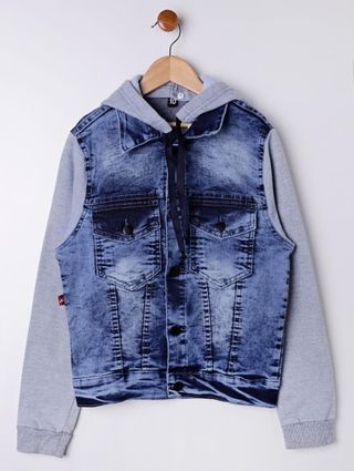 Jaqueta Jeans Juvenil para Menino - Azul/cinza