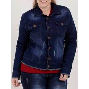 Jaqueta Jeans Plus Size Feminina Azul GG