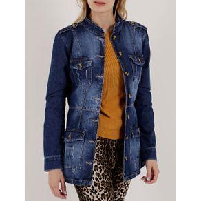 Jaqueta Parka Jeans Feminina Azul P