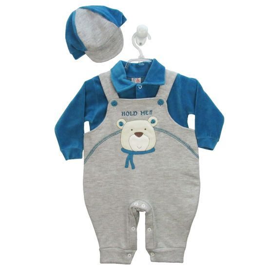 Jardineira Bebê Masculina Longa Cinza Mescla e Azul Turquesa com Boné-P