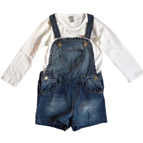 Jardineira Infantil em Jeans Coração e Camiseta Borboletas Conjunto 2