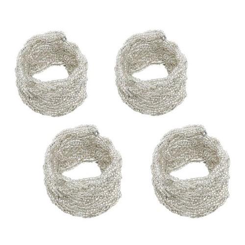 Jogo 4 Anéis para Guardanapo Miçanga Silver 4,5cm
