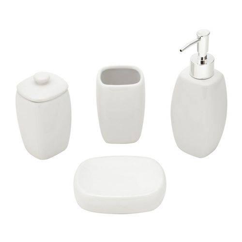 Jogo 4 Peças para Banheiro de Cerâmica Penelope Branco Lyor - L64007