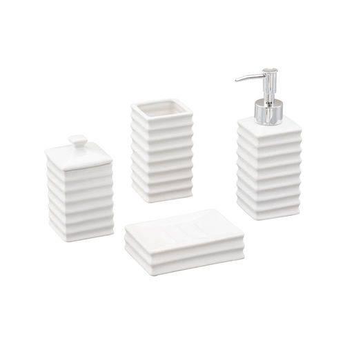 Jogo 4 Peças para Banheiro de Cerâmica Wave Branca Lyor - L2130