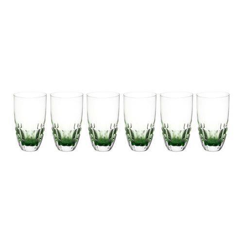 Jogo 6 Copos Craquelados de Vidro Long Drink de 445ml Verde