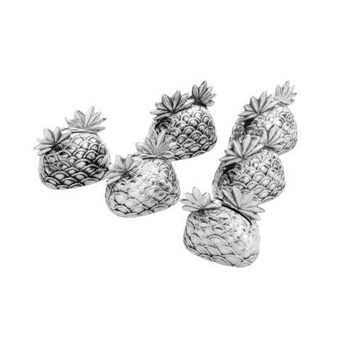 Jogo 6 Porta Cartões Silver Plated Pineapple