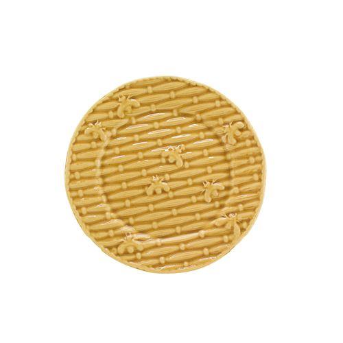 Jogo 6 Pratos para Sobremesa de Cerâmica Mostarda Bee 2 - 20cm