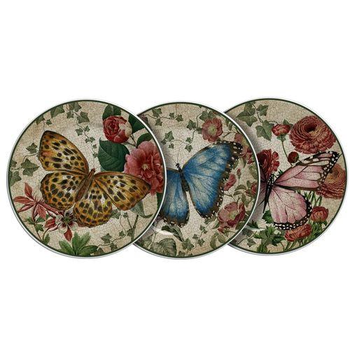 Jogo 6 Pratos para Sobremesa de Cerâmica Reto Farfalla 20cm