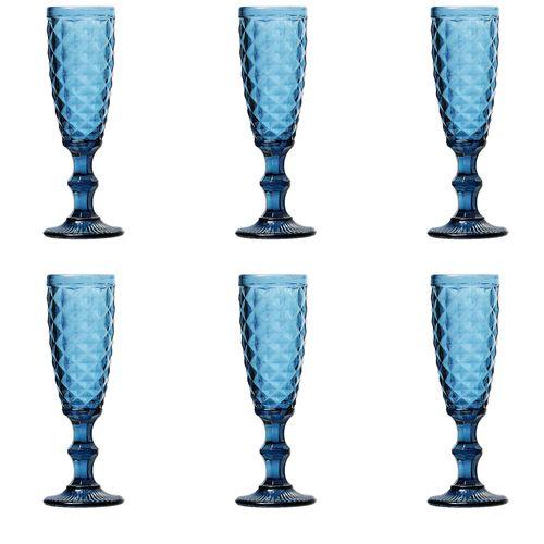 Jogo 6 Taças para Champagne em Vidro Lyor Abacaxi 140ml Azul