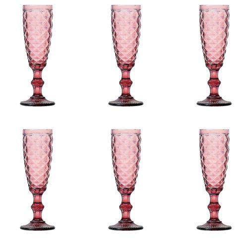 Jogo 6 Taças para Champagne em Vidro Lyor Abacaxi 140ml Lilás