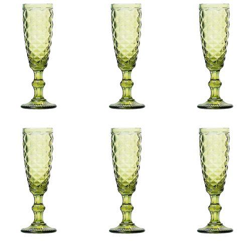 Jogo 6 Taças para Champagne em Vidro Lyor Abacaxi 140ml Verde