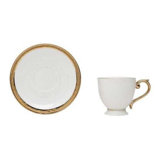 Jogo 6 Xícaras Café com Pires de Porcelana Paddy 90 Ml