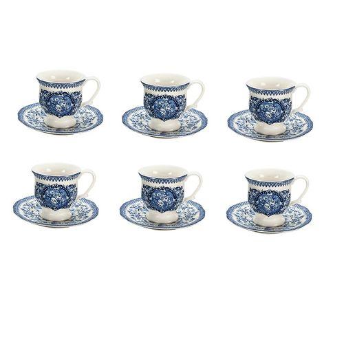 Jogo 6 Xícaras Café English Blue 50ml